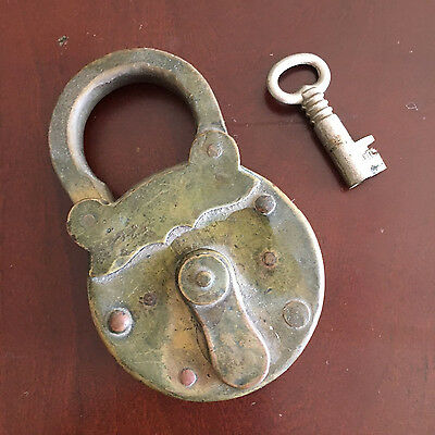 Antique BRASS Lock With Key 1900's or earlier?