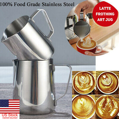 US New Stainless Steel Milk Craft Coffee Latte Frothing Art Jug Pitcher Mug Cup