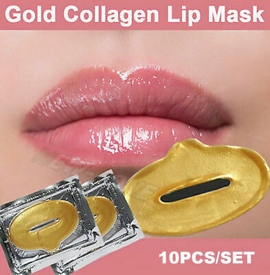 10 Collagen LIP Masks  Crystal 24k GOLD Premium Eye Skin Anti Ageing Wrinkle