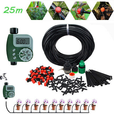 Auto Timer DIY 25m Micro Drip Irrigation System Self Plant Watering Garden Hose