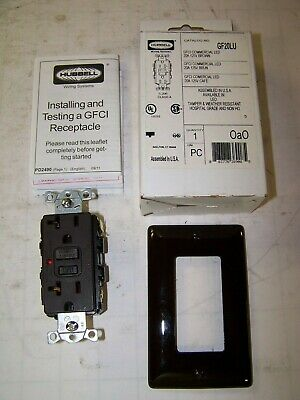 New Hubbell 20 Amp Brown Gfci Commercial Led Receptacle 125 Vac Gf20Lu