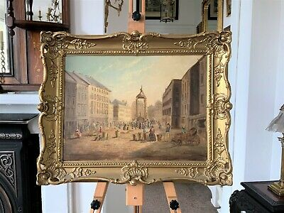 ORIGINAL SIGNED ANTIQUE OIL PAINTING -19thc MARKET TOWN WITH MONUMENT & SELLERS