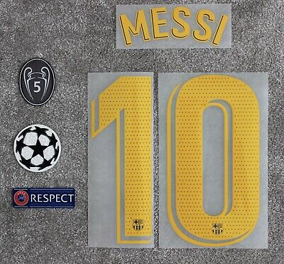 BARCELONA | MESSI UEFA Champions League 19/20 Shirt Name & Number Set & Patches