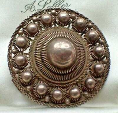 Antique Jewellery Dutch Zeeland Silver Cannetille Traditional Costume Brooch/Pin