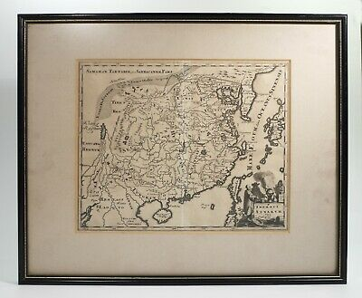 Rare Framed Antique Map of China by Philipp Cluver Published 1697.