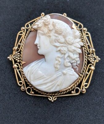 Antique Victorian Shell Cameo 9ct Gold Frame Brooch Pin Goddess Flora
