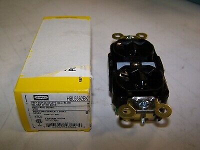 New Hubbell Black Duplex Receptacle 20 Amp 125V 2 Pole 3 Wire Ground Hbl5362Bk