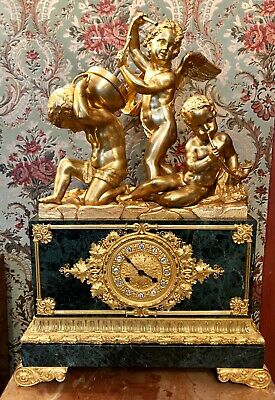 Antique French Heavy Desk Mantel Clock Bronze Marble Gold Angels Interior Decor