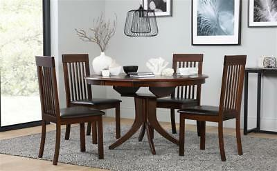 Dark Hudson & Oxford Extending Wood Dining Table and 4 6 Chairs Set (Brown)