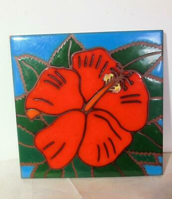 Vintage Ceramic Trivet Tile Hibiscus Red Made in Hawaii 6""