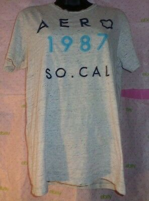 AEROPOSTALE SO. CAL Small Petite PATCH LETTER tee $40 top GRAY BLACK TEXTURE