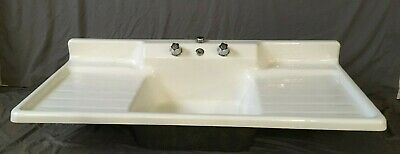 "Vtg Cast Iron White Porcelain 54"" Single Basin Double Drainboard Sink 133-19E"