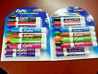 NEW SEALED Expo Low-Odor Dry Erase Markers, Chisel Tip, 2 packs of 12 pens each