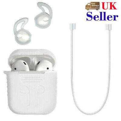 For Apple AirPods Charging Silicone Cover Case+Earphone Anti Lost Strap Rope