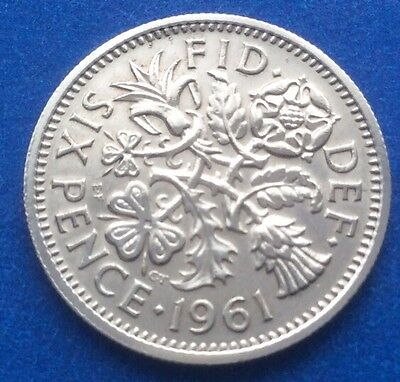 """1961 Queen Elizabeth Ii """"Lucky Tanner"""" Sixpence Coin 59Th Birthday / Anniversary"""