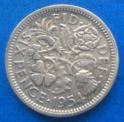 """1954 Queen Elizabeth Ii """"Lucky Tanner"""" Sixpence Coin 66Th Birthday / Anniversary"""