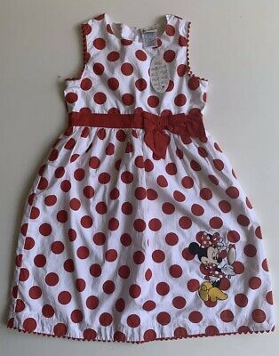 Disney Parks Authentic Girls Dress Polka Dot  with Minnie Mouse Embroidery