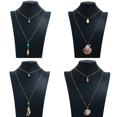 Boho Women Multi-layer Long Chain Conch Shell Pendant Choker Necklace Jewelry US