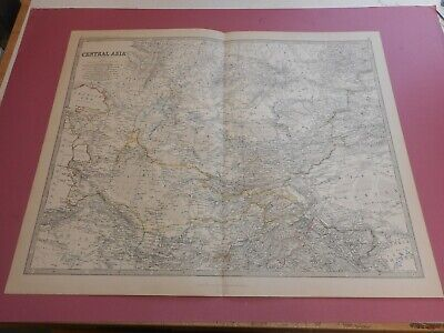 100% Original Large Central Asia Afgan Aral Sea Map By K Johnston C1884 Vgc