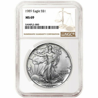 1989 $1 American Silver Eagle NGC MS69 Brown Label