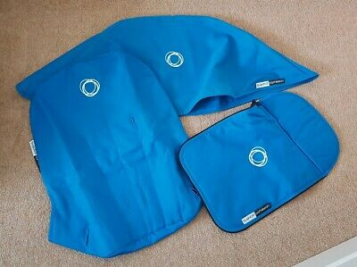 Bugaboo cameleon 1 and 2 blue canvas hood, apron and seat cover fabric set