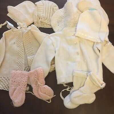 Vintage Lot of Knitted Baby Clothes Sweater Bonnet Booties White Off White