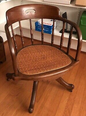 Antique Wood Cane Bottom Library - Banker - Lawyer - Rolling Swivel Chair