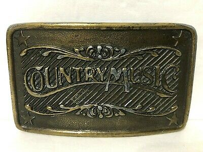 Vintage🎼Country Music🎵Belt Buckle Solid Brass INDIANA METAL CRAFT Made in USA