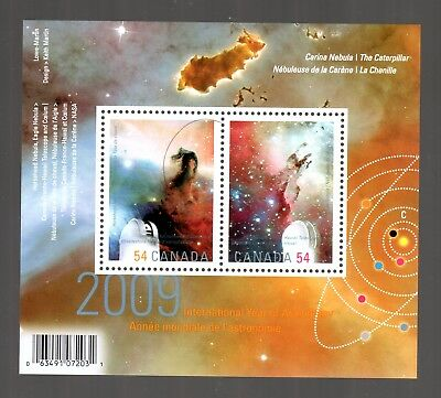 CANADA 2009 S/SHEET,INT'L YEAR OF ASTRONOMY, UC# 2323, STAMPS #2323a & b,   MINT