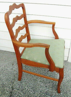 Antique (?) Ladderback Hardwood Dining Table Arm Chair, NO. 705. ORLEANS MOCHA