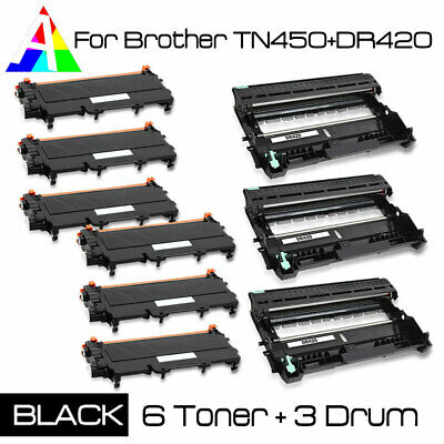 3x DR420 Drum + 6x TN450 Toner Set For Brother MFC-7240/7360/7360N/7460DN/7860