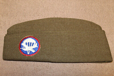 Original WW2 U.S. Army Airborne Patched Wool Overseas Hat, 1945 d. (Minty)