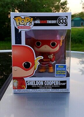 IN HAND 2019 SDCC Funko POP The Big Bang Theory Sheldon Cooper #833 As The Flash
