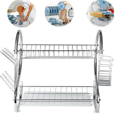 2 Layer Chrome Drainer for Dish Cup Plate Cutlery Kitchen Tool Rack Holder Steel