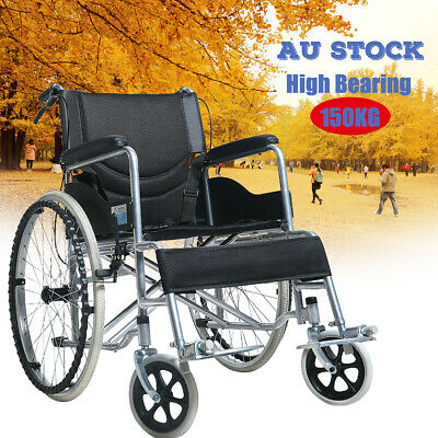 24 inch Wheel Chair wheelchair Lightweight Folding Walker Brakes Armrests Dining