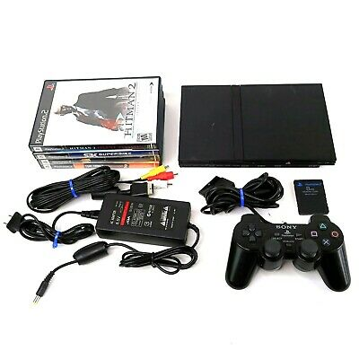 Sony Playstation 2 Slim Black Console w/ Controller, 4 Games & Memory Card PS2