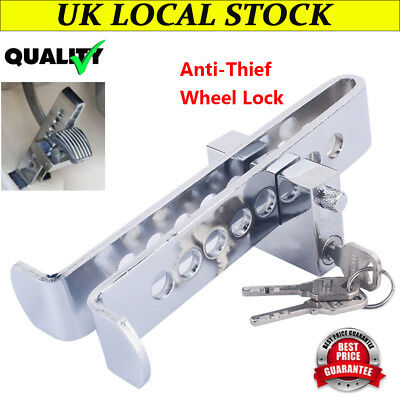 Gray Stainless Steel Anti-Theft Security Device Auto Car Clutch Brake Pedal Lock