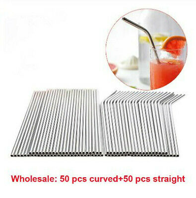 Silver 100pcs Reusable Stainless Steel Metal Straws Drinking Dining Bar Straw