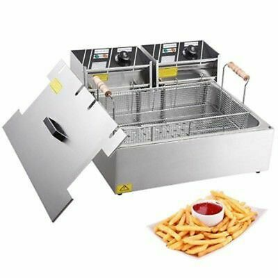 5000W 20L Commercial Electric Deep Fat Chip Fryer Large Tank Stainless Steel