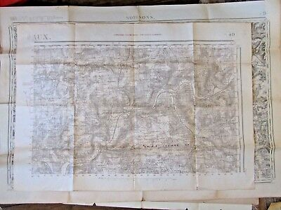 Antique French map Meaux 1917