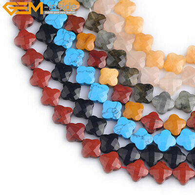 "13mm Assorted Stone Faceted Clover Flower Loose Beads For Jewelry Making 15"" DIY"