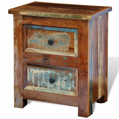 vidaXL Solid Reclaimed Wood Nightstand with 2 Drawers Cabinet Side End Table