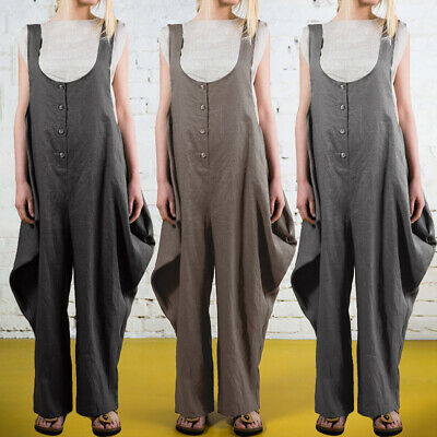 Womens Dungarees Strap Overalls Trousers Baggy Casual Sleeveless Jumpsuit Romper
