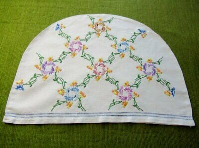 Vintage Tea Cosy Cover - Hand Embroidered Pretty Flowers - Linen