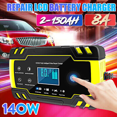 12/24V 8A 150AH tactile Impulsion Intelligent Chargeur de batterie Voiture Moto