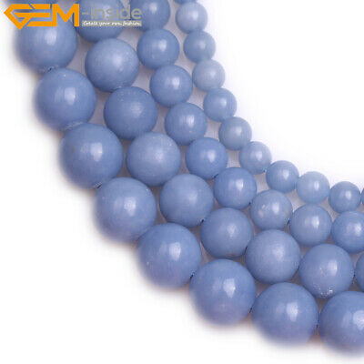 """Natural Gemstone Round Blue Anglite Stone Loose Beads For Jewelry Strand 15"""""""
