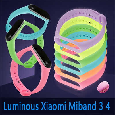 For Xiaomi Mi Band 3 4 Replacement Silicone Luminous Watch Band Bracelet Strap