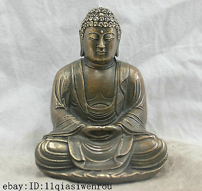 Chinese Folk Culture Handmade Brass Bronze Statue Sakyamuni Buddha Sculpture