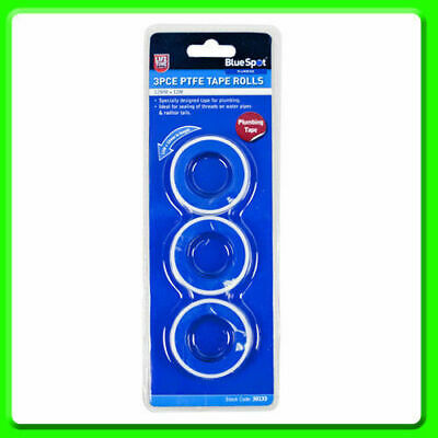 3 Rolls of PTFE Tape Blue Spot Plumbing Tape Water Pipes Radiator Tails 10M UK