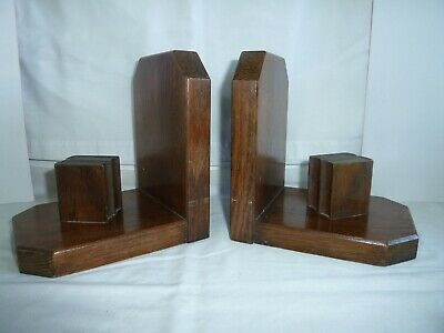 Lovely Pair Vintage Oak Bookends Wood Wooden Books